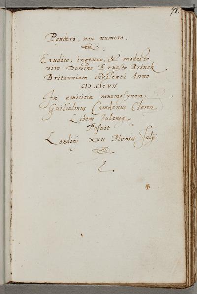 Albuminscriptie / van Guilielmus Camdenus (1551-1623), historicus, voor Ernst Brinck (1582-1649), gezant en burgemeester van Harderwijk