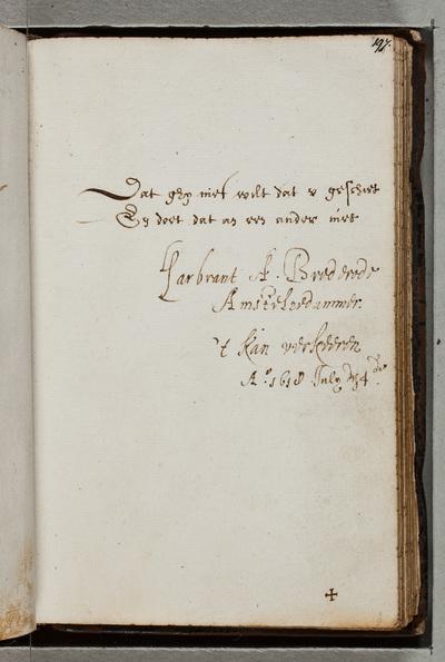 Albuminscriptie / van Gerbrand Adriaensz. Bredero (1585-1618), letterkundige, voor Ernst Brinck (1582-1649), gezant en burgemeester van Harderwijk