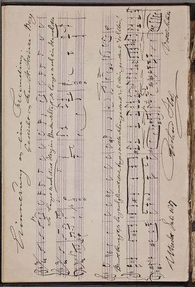 Muzikale inscriptie / van Richard Hol (1825-1904), componist, voor Louise Westermann-Heinze (1837-1929)