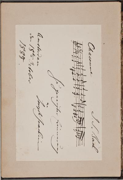 Muzikale inscriptie / van Joseph Joachim (1831-1907), violist, voor Louise Westermann-Heinze (1837-1929)
