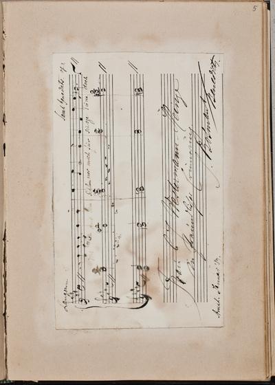 Muzikale inscriptie / van Sara Bosmans-Benedicts (1860-1949), pianiste, voor Louise Westermann-Heinze (1837-1929)