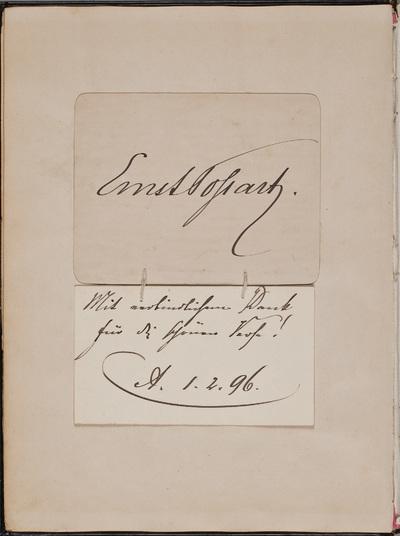 Inscriptie / van Ernst von Possart (1841-1921), toneelspeler, voor Louise Westermann-Heinze (1837-1929)