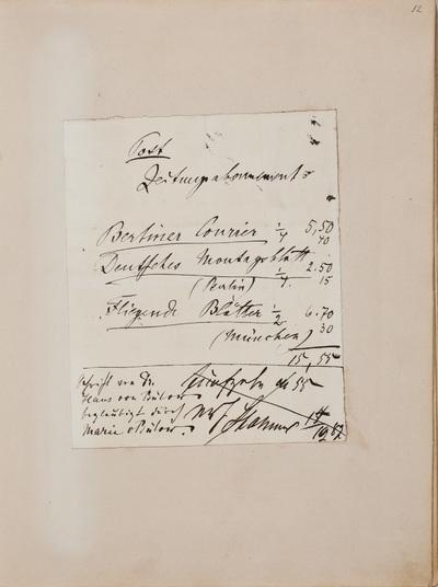 Inscriptie / van Hans von Bülow (1830-1894), pianist en dirigent, voor Louise Westermann-Heinze (1837-1929)