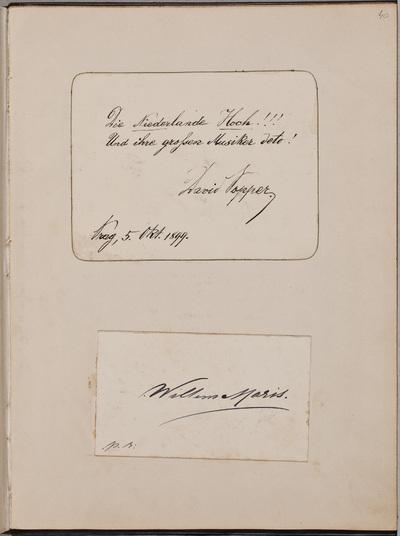 Inscriptie / van David Popper (1843-), violoncellist, voor Louise Westermann-Heinze (1837-1929)
