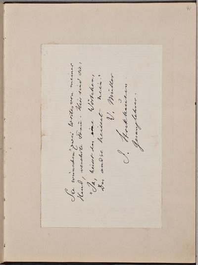 Inscriptie / van Julius Stockhausen (1826-1906), muziekdocent, voor Louise Westermann-Heinze (1837-1929)