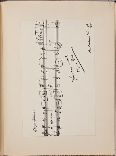 Muzikale inscriptie / van Myra Hess (1890-1965), pianiste, voor Louise Westermann-Heinze (1837-1929)