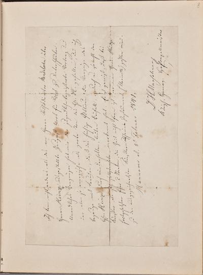 Brief van Heinrich August Marschner (1795-1861), componist, ter aanbeveling van Gustav Adolph Heinze (1821-1904)