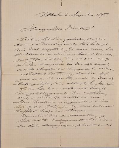 Brief van Richard Hol (1825-1904), componist, geschreven aan Louise Westermann-Heinze (1837-1929)
