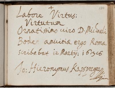 Albuminscriptie / van Jo. Hieronymus Kapsperger (ca. 1580-1651) voor Michael Bode