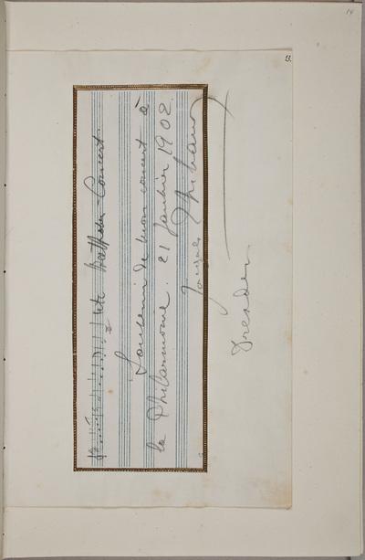 Muzikale bijdrage / van Jacques Thibaud (1880-1953), violist, voor het autografenalbum van Rudolf Hugo Driessen (1873-1946) en Caroline Driessen-Kleyn (1883-1938)