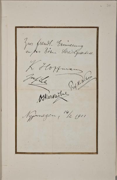 Albuminscriptie / van het Böhmer Streichquartett: Karel Hoffmann (1872-1936), violist, Hanus Wihan (1855-1920), cellist, Josef Suk (1874-1935), componist en musicus, Oskar Nedbal (1874-1930), componist en violist, voor van...