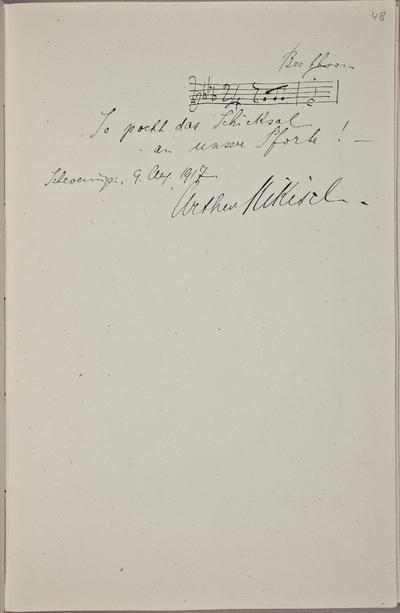 Muzikale bijdrage / van Arthur Nikisch (1855-1922), componist en dirigent, voor het autografenalbum van Rudolf Hugo Driessen (1873-1946) en Caroline Driessen-Kleyn (1883-1938)