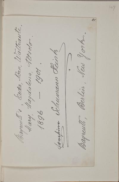 Albuminscriptie / van Ernestine Schumann-Heink (1861-1936), zangeres, voor van Rudolf Hugo Driessen (1873-1946) en Caroline Driessen-Kleyn (1883-1938)