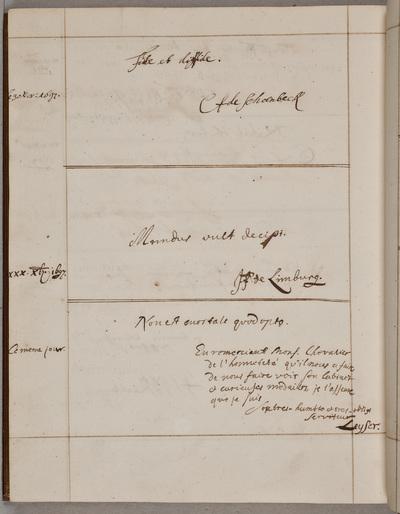 Bijdrage / van Leyser, in het bezoekersboek c.q. album amicorum van Nicolas Chevalier (1661-1720), boekhandelaar uit Sédan
