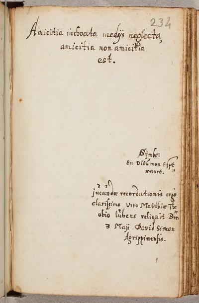 Albuminscriptie / van David Simon, voor Matthias Gotslebius, student theologie