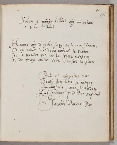 Albuminscriptie / van Jacobus van der Does, voor David Mostart (ca. 1554-1615), leraar en notaris