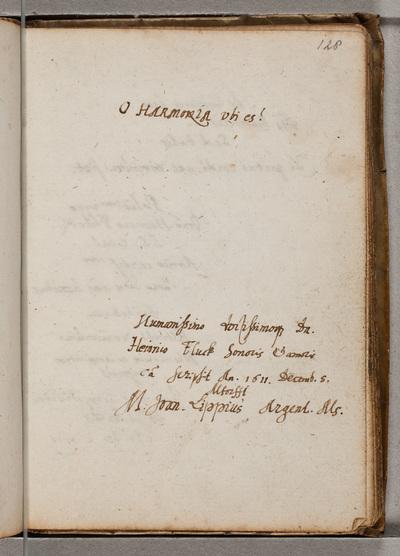 Albuminscriptie / van Joannes Lippius (1585-1612), theoloog en musicus, voor Henricus Flück