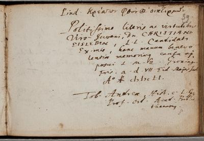 Albuminscriptie / van Tob. Andreae (1604-1676), historicus en classicus, hoogleraar en bibliothecaris, voor Christianus Eisleben