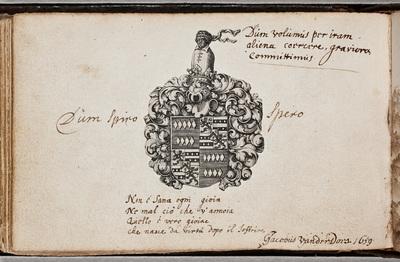 Albuminscriptie van / Jacobus van der Does (1623-1673), schilder, voor Cornelis de Glarges (1599-1683), diplomaat
