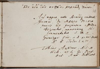 Albuminscriptie / van Tobias Andreae (1604-1676), historicus en classicus, voor Marcus Pels (ca. 1641-ca. 1688), historicus