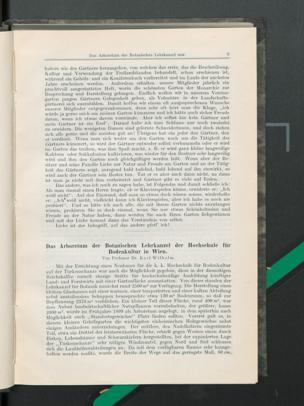 Das Arboretum der Botanischen Lehrkanzel der Hochschule für Bodenkultur in Wien / Von Dr. Karl Wilhelm