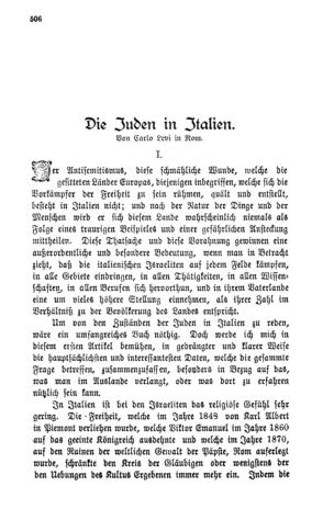 Die Juden in Italien (Im deutschen Reich)
