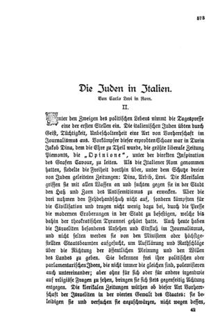 Die Juden in Italien : II. (Im deutschen Reich)