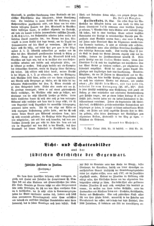 Jüdische Zustände in Italien : Fortsetzung (Der Orient <Leipzig>)