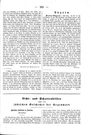 Jüdische Zustände in Italien (Der Orient <Leipzig>)