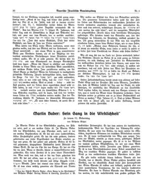 Martin Buber: Sein Gang in die Wirklichkeit : zu seinem 50. Geburtstag (Bayerische israelitische Gemeindezeitung)