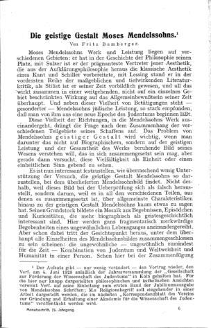 Die geistige Gestalt Moses Mendelssohns (Monatsschrift für Geschichte und Wissenschaft des Judentums)