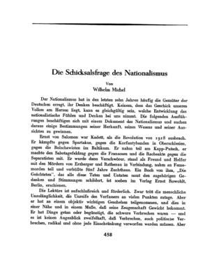 Die Schicksalsfrage des Nationalismus (Der Morgen)