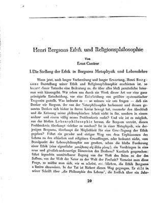 Henri Bergsons Ethik und Religionsphilosophie (Der Morgen)