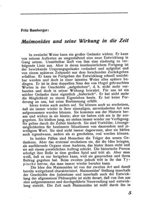 Maimonides und seine Wirkung in die Zeit (Der Morgen)