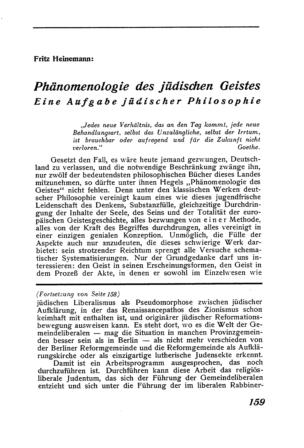 Phänomenologie des jüdischen Geistes : Eine Aufgabe jüdischer Philosophie (Der Morgen)