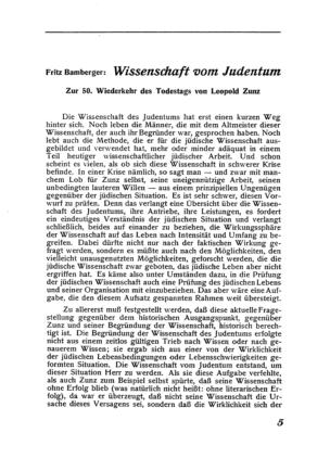 Wissenschaft vom Judentum : Zur 50. Wiederkehr des Todestags von Leopold Zunz (Der Morgen)
