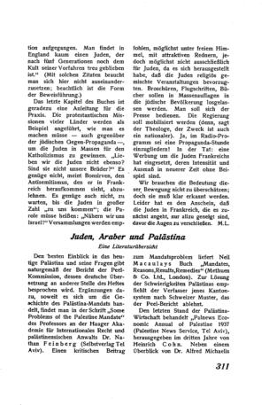 Juden, Araber und Palästina : ein Literaturbericht (Der Morgen)