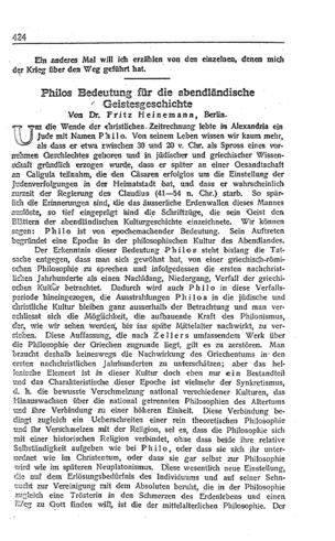 Philos Bedeutung für die abendländische Geistesgeschichte (Neue jüdische Monatshefte)