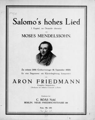 Salomo's hohes Lied : 1. Kapitel / für eine Singst. mit Klavierbegleitung komponiert von Aron Friedmann. Ins Dt. übers. von Moses Mendelssohn