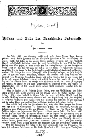 Anfang und Ende der Frankfurter Judengasse / Von Germanicus [d. i. Emil Richter]