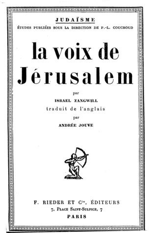 La voix de Jérusalem / par Israel Zangwill. Trad. de l'anglais par Andrée Jouve