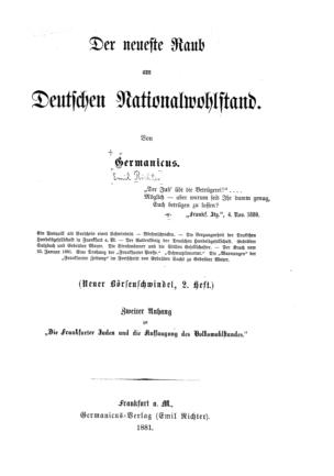 Der neueste Raub am deutschen Nationalwohlstand / von Germanicus