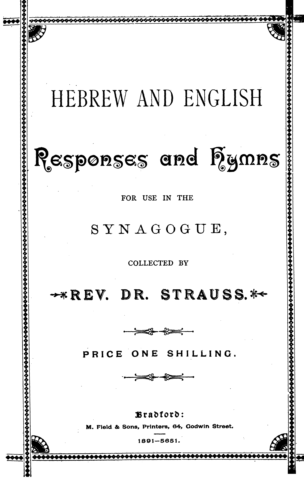 Hebrew and English responses and hymns for use in the Synagogue / coll. by Strauss