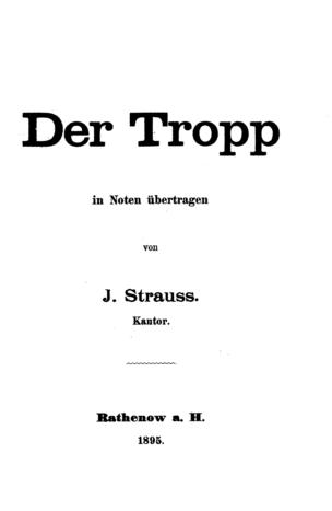 Der Tropp / in Noten übertr. von J. Strauss