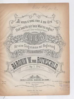 Si vous n'avez rien à me dire : Und hast du mir kein Wort zu sagen? Frei nach V. Hugo von Richard Genée. Lied für eine Singstimme mit Begl. de. Pianoforte ; Op. 5 no. 1 / von ... W. von Rothschild