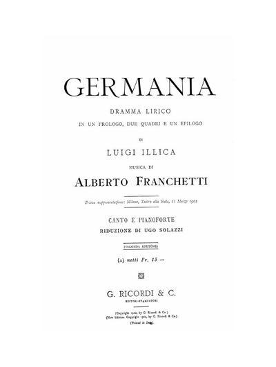 Germania dramma lirico in un prologo, due quadri e un epilogo