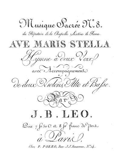 Ave maris stella hymne a deux voix avec accompagnement de deux violons, alto et basse