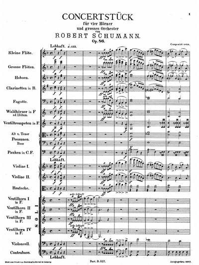 Concertstück für 4 Hörner und grosses Orchester. F-dur. Op. 86