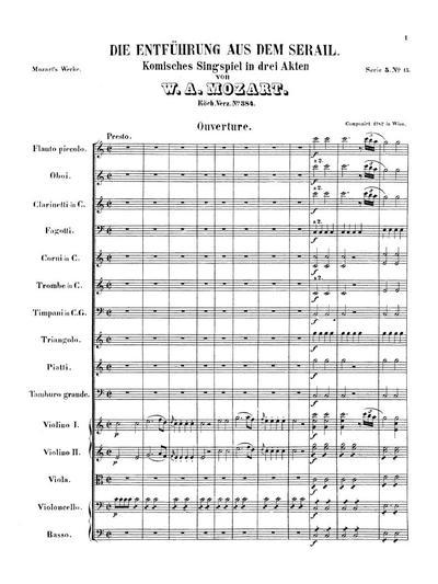 Die Entführung aus dem Serail komisches Singspiel in 3 Akten : Ouverture