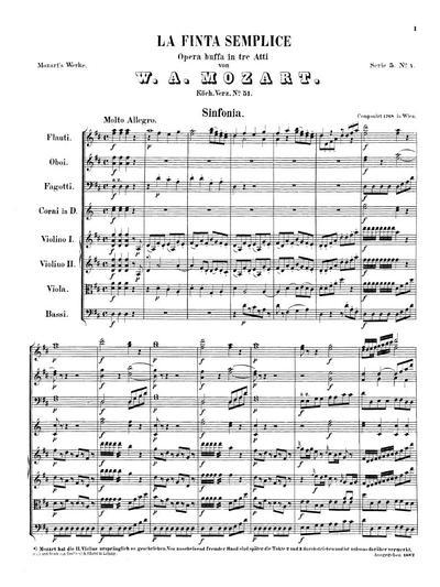 La finta semplice opera buffa in 3 atti : Sinfonia